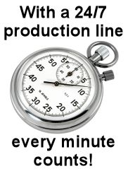 With a 24 hour 7 day a week production line, every minute counts